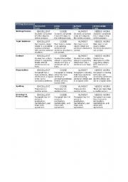 English worksheet: Writing Assessment Rubric