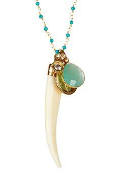 Gemstone & Lotus Charm Necklace