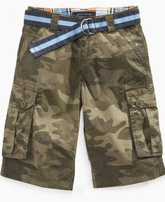 Tommy Hilfiger Kids Shorts, Little Boys Stuart Camouflage Belted Shorts