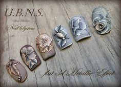 "796 Likes, 17 Comments - Újvári Barbara (@ujvaribarbara) on Instagram: ""#ujvaribarbara #nailart #nails #handmade #salonnail#metaleffect#antique#acrylicnails"""