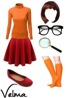 DIY Velma Halloween Costume - Put together your own Velma Costume for a unique look that fits well since YOU are picking the pieces individually.