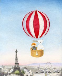Walter the Red Panda and Jack the Polar Bear's Hot Air Balloon Ride over Paris 8 x 10 inch Print by SBMathieu