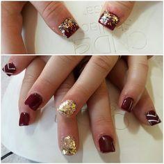 #maroon #goldglitter #acrylics