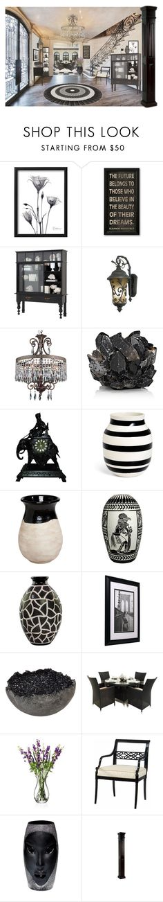 """""""It's All There, in Black and White..."""" by funkyjunkygypsy ❤ liked on Polyvore featuring interior, interiors, interior design, home, home decor, interior decorating, Eichholtz, O'Neil, WALL and Kalco"""
