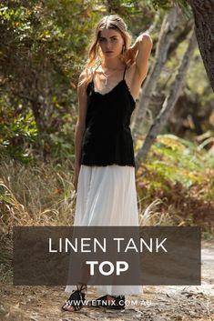 Boho Clothing, Linen Beach Top, Linen Summer Top, Hippie Tank Top, Psy Trance Goa. #linentop #tanktop #hippietank #linenfashion #Etnix #outfitideas #indieoutfits