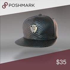 "Massari black croc cap. Massari means ""Money"" in Arabic. Everyone loves money!!! This is a black croc style cap with a silver badge/ plaque on the front. For men and women. massari Accessories Hats"