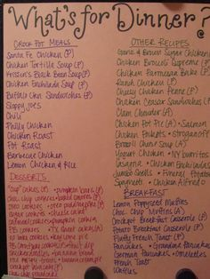 A good way to streamline the menus from different sites for the fridge. Divided into crock pot meals, regular meals, Monthly Meal Planning, Budget Meal Planning, Family Meal Planning, Family Meals, Weekly Meal Plan Family, Make Ahead Meals, Quick Meals, Frugal Meals, Freezer Meals
