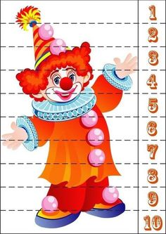 Number Puzzles, Maths Puzzles, Kindergarten Readiness, Preschool Math, Mardi Gras, Theme Carnaval, Carnival Crafts, Blank Coloring Pages, Send In The Clowns
