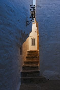 Daybreak in a backstreet alley, Chora, Patmos, Dodecanese Islands, Greece