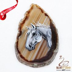 Hand Painted Horse Agate Slice Gemstone Necklace Pendant Jewlery D1707 0941 #ZL #Pendant