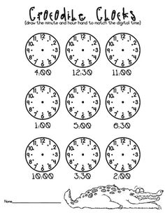 Must print this off for Ava. She already knows how to read a clock to know what time it is but practicing putting the hands on the clock to a certain time would be great. Math Classroom, Kindergarten Math, Classroom Activities, Preschool, Teaching Time, Teaching Math, Teaching Ideas, Fun Math, Maths