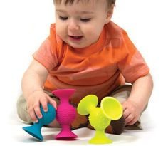 Pip Squigz will keep their attention in the stroller, highchair or bathtub.