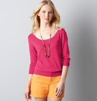 "...think I might be purchasing this cute ""guava"" colored sweater :) very cute and perfect for the Fall!"