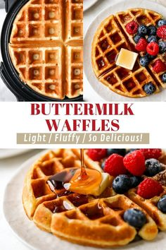 Start your day off with a warm mug of coffee and homemade buttermilk waffles and everything is just right with the world. This buttermilk waffles recipe is easy to make and results in fluffy waffles that are perfectly crisp on the outside, soft on the inside, and filled with the most delicious buttery flavor! The best addition to any breakfast or brunch spread! Paleo Waffles, Banana Waffles, Fluffy Waffles, Buttermilk Waffles, Gluten Free Waffles, Homemade Buttermilk, Pancakes And Waffles, Easy Brunch Recipes, Delicious Breakfast Recipes