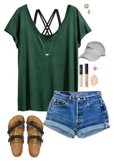 """""""Summer"""" by halledaniella ❤ liked on Polyvore featuring Patagonia, H&M, Kate Spade, NARS Cosmetics, Marlo Laz, Dermablend, Birkenstock and Kendra Scott"""