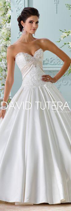 The David Tutera for Mon Cheri Spring 2016 Wedding Gown Collection - Style No. 116200 Heloise #satinandlaceweddingdresses