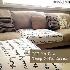 Makeover til sofa ved at ombetrække løse hynder og puder.
