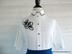 Vintage Blouse  1990s White Blouse with by runaroundsuevintage, $26.00