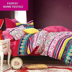 FADFAY Home Textile,Elegant Colorful Rainbow Bed Cover,Fashion Exotic Rustic Shabby Duvet Covers,Modern Boho Bedding,Queen Size,4Pcs FADFAY http://www.amazon.co.uk/dp/B00QRQ50BA/ref=cm_sw_r_pi_dp_Ebghvb1YF83XZ