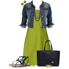 Chartreuse Dress...Navy Accessories