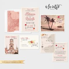 Mexico Puerto Vallarta Destination wedding invitation traditional Mexican illustrated wedding invitation set