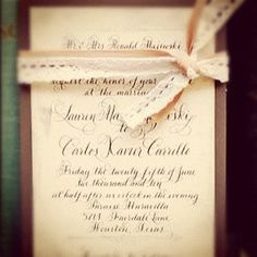 Calligraphy Wedding Invitations Vintage Glam by DesignsByRobynLove, $6.50