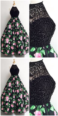 Gorgeous Halter Black Long Floral Prom Dress,Prom Dresses,Evening Dress, Prom Gowns, Formal Women Dress,prom dress P0675 #promdress #promdresses #promgown #blackpromgowns #long #sequinsprom #modestpromdress #newpromdress #2018fashions #newstyles #sequins