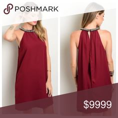 Coming Soon! Wine Colored Dress Gorgeous wine color dress with beautiful embellished neckline. The dress has a flattering fit and a sexy open back. It is made of 95% polyester and 5% spandex. Available in small, medium, and large.  Like and watch for a price drop to $42 or preorder for only $34! NEW Boutique Dresses Backless