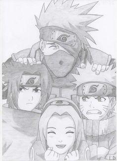 Kakashi sensei,naruto-kun,sasuke-kun y Sakura- chan Naruto Sketch Drawing, Kakashi Drawing, Naruto Drawings, Anime Drawings Sketches, Anime Sketch, Cute Drawings, Sketch Art, Naruto Kakashi, Anime Naruto