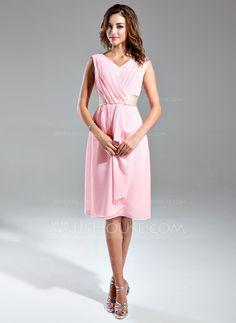 Bridesmaid Dresses - $99.99 - A-Line/Princess V-neck Knee-Length Chiffon Satin Bridesmaid Dress With Ruffle Sash (007024295) http://jjshouse.com/A-Line-Princess-V-Neck-Knee-Length-Chiffon-Satin-Bridesmaid-Dress-With-Ruffle-Sash-007024295-g24295?ver=0wdkv5eh