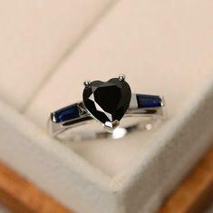 3.00Ct Heart Cut Black Diamond Engagement Solitaire Ring 14K White Gold Finish | eBay Black Diamond Engagement, Solitaire Engagement, Solitaire Ring, Stylish Jewelry, Cute Jewelry, Engagement Jewelry, Wedding Jewelry, Wedding Rings, Diamond Heart