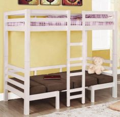 Twin Size Convertible Loft Bed in White Finish: Amazon.com: Home & Kitchen