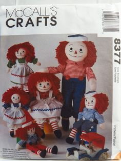 McCall's 8377 Raggedy Ann and Andy™ Dolls with Clothes and Blue Transfers