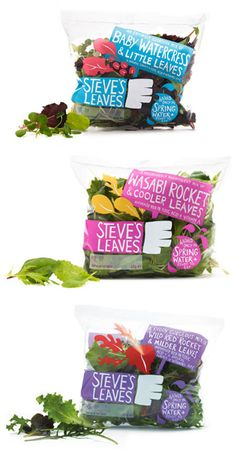 Steve's Leaves brings a new look to the produce aisle with their fun, colorful and see-thru packaging. #RetailPackaging