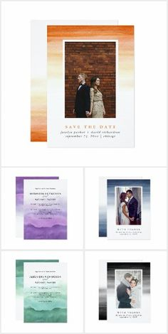 Watercolor Ombre This trendy and modern collection of invitations features several colorways - purple, yellow/orange, green, blue, and black - with watercolor splashes and elegant typography. Fun wedding invites. Customize invitations for your weddings. #invitations #invites #weddings