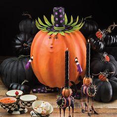 MacKenzie-Childs | Patience Brewster Gourdon Pumpkin Display Figure All Hallows Eve 2, Mackenzie Childs Furniture, Pumpkin Display, Mckenzie And Childs, Plastic Pumpkins, Raspberry Color, Flower Market, Decoration, Bird Houses