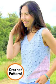 It's that time of year to work on our Spring and Summer collections! Are you looking for that perfect top? Look no further: I've created… Crochet Vest Pattern, Crochet Tunic, Crochet Clothes, Crochet Patterns, Crochet Vests, Crochet Edgings, Shawl Patterns, Crochet Motif, Easy Crochet
