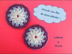 Aprende a tejer este circulo flor 12 petalos a ganchillo o crochet - YouTube