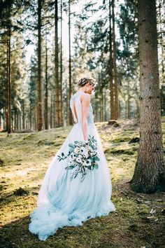How gorgeous is this dress! Lovely! Wedding Dress Blue, Pastel Blue Wedding, Pastel Wedding Dresses, Pastel Blue Dress, Budget Wedding Dress, Blue And White Dress, Blue Bridal, Colored Wedding Gowns, Wedding Colors