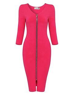 TAM Ware Womens Sophisticated Front Zip Sleeve Bodycon Midi Dress S Stylish Dresses, Women's Fashion Dresses, Casual Dresses For Women, Dresses For Work, Harley Davidson, Midi Sundress, Robes Midi, Retro, Cotton Dresses