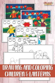 FREE Step by Step Drawing and Coloring Children and Lanterns - Blessed Learners Homeschool Blogs, Homeschooling, Hope Light, Easy Coloring Pages, Music Drawings, Hope Symbol, Easy Crafts For Kids, Chinese Culture, Step By Step Drawing