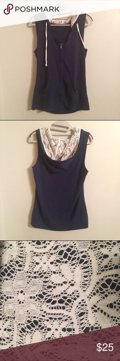Maurice's Hoody Vest Maurice's Lace Hooded Vest • Medium • Lace inside hood • Never Worn • Dark Blue Maurices Tops Tank Tops