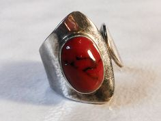 Red Jasper Ring   Sterling Silver   Size 7 1/2  Southwest Cuff Ring   Mexico by…
