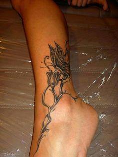 Foot/Ankle Tattoo Idea...Butterflies on a Vine