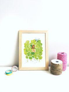 Illustration print Girl in the Lotus Leaf Pond // wall art print • living room decor print • watercolor illustration • B5 digital art print by susannelowillust on Etsy