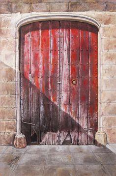 Pilar S. Robles. Puerta roja (Provincia de Girona). Pastel. 71x50