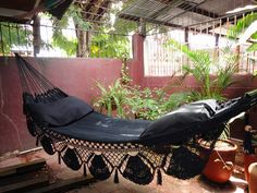 Black Hammock Hand Woven Natural Cotton with Special by hamanica