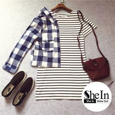 Love the simplicity style. Stripes & Plaid.   -SheIn