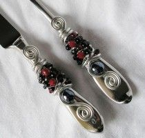 BEADED Wedding Cake Server And Knife Serving Set With Red & Black Glass Beads, Swarovski Crystal And Pearls