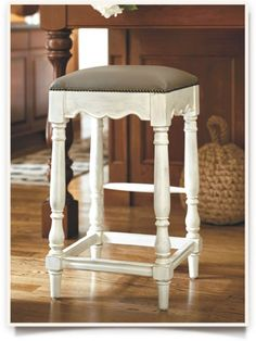 Marlow Barstool -Backless Barstool with Leather Seat -Backless Leather Barstool White Bar Stools, Stool Height, Backless Bar Stools, Galley Kitchens, Marlow, Ballard Designs, Counter Stools, Kitchen Ideas, Brown Leather
